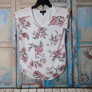 BCX Style Juniors XS White Floral Pink Flowers Top